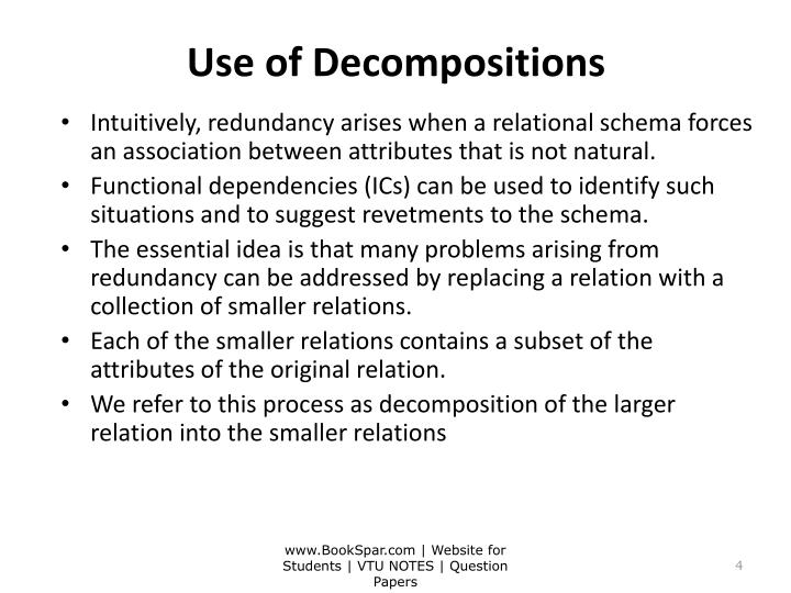 Use of Decompositions