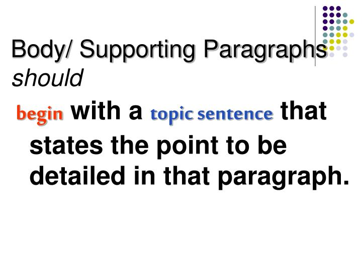 Body/ Supporting Paragraphs