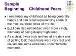 sample beginning childhood fears