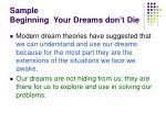 sample beginning your dreams don t die
