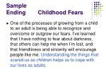 sample ending childhood fears