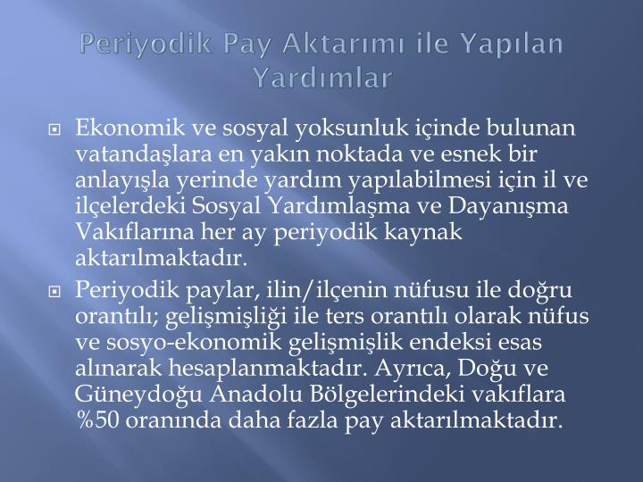 Periyodik Pay Aktarm ile Yaplan Yardmlar