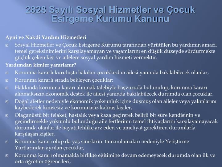 2828 Sayl Sosyal Hizmetler ve ocuk Esirgeme Kurumu Kanunu