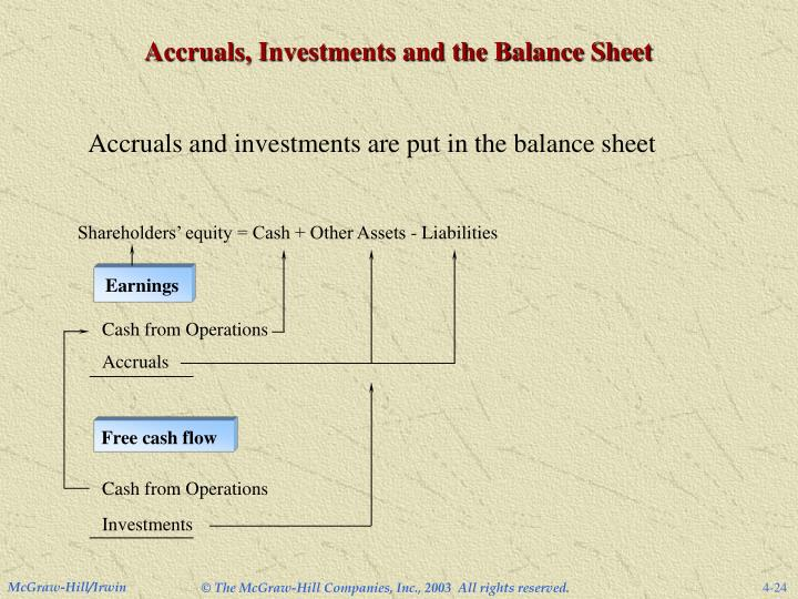 Accruals, Investments and the Balance Sheet