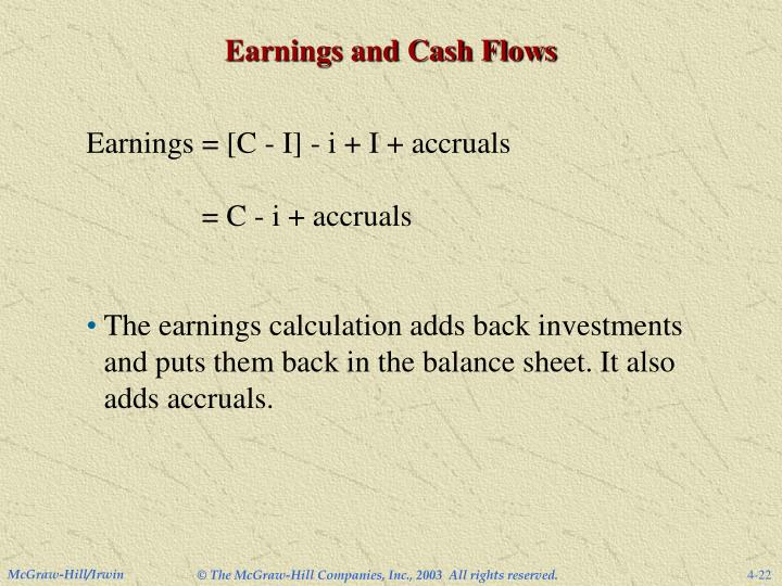 Earnings and Cash Flows