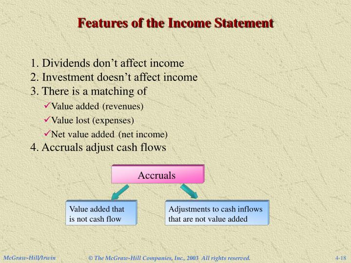 Features of the Income Statement