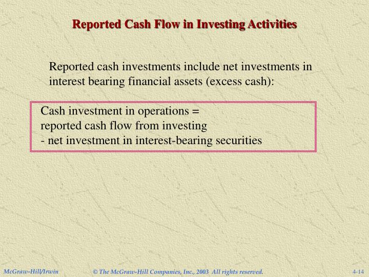 Reported Cash Flow in Investing Activities