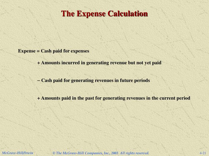 The Expense Calculation