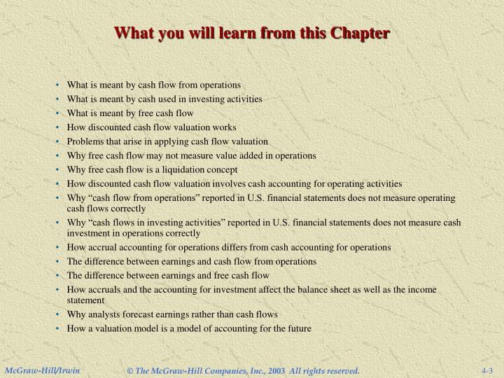 What you will learn from this Chapter