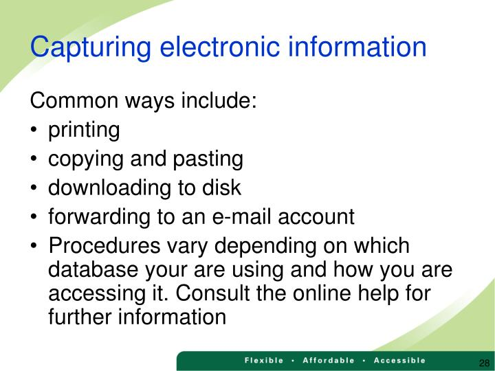 Capturing electronic information