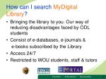 how can i search mydigital library