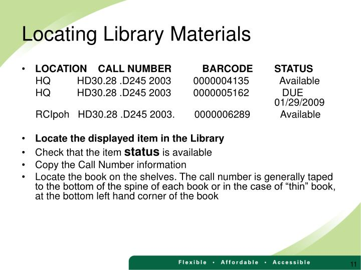 Locating Library Materials