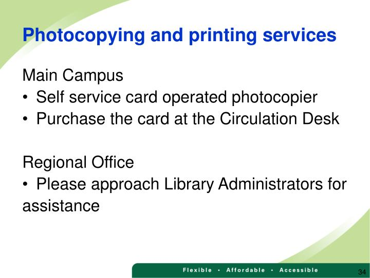 Photocopying and printing services