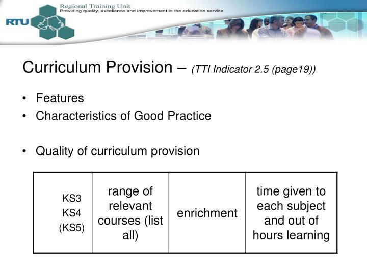 Curriculum Provision –