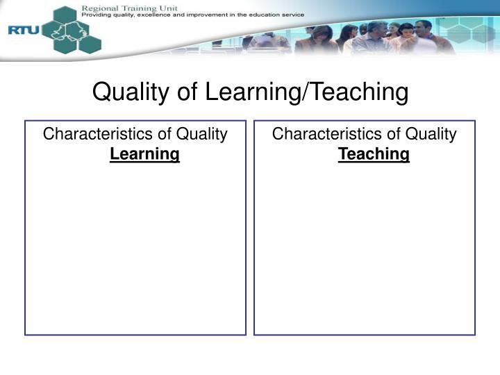 Characteristics of Quality