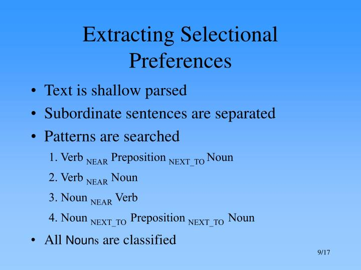 Extracting Selectional Preferences