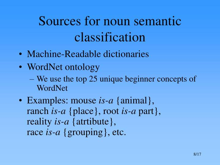 Sources for noun semantic classification