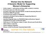 women into the network a dynamic model for supporting women s enterprise