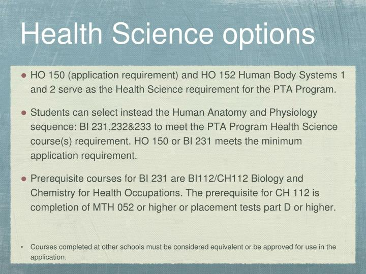 Health Science options