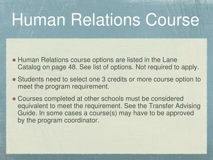 Human Relations Course