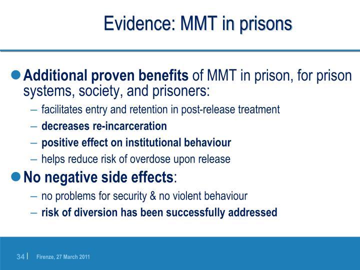 Evidence: MMT in prisons