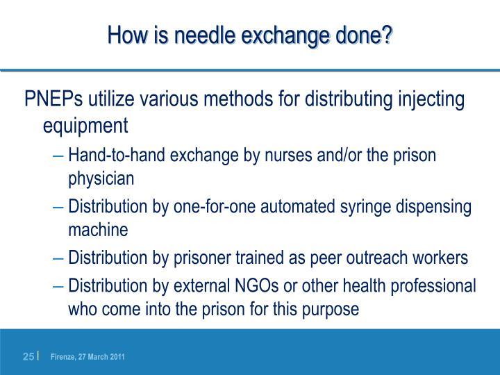 How is needle exchange done?