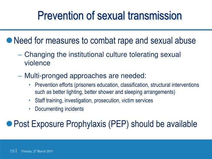 Prevention of sexual transmission
