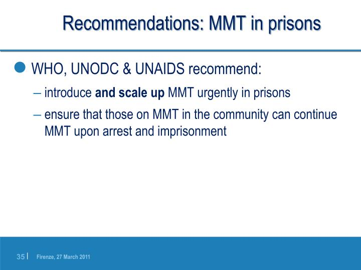 Recommendations: MMT in prisons