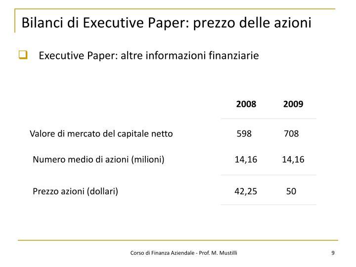 Bilanci di Executive Paper: prezzo delle azioni