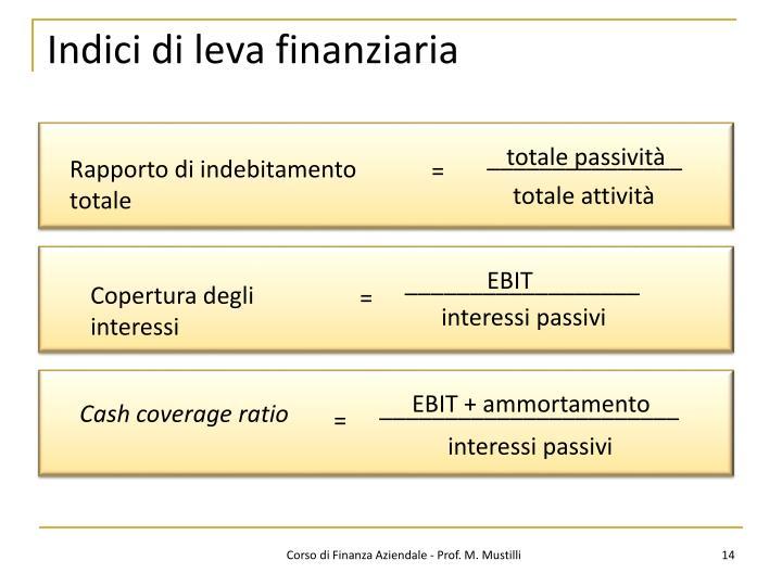 Indici di leva finanziaria