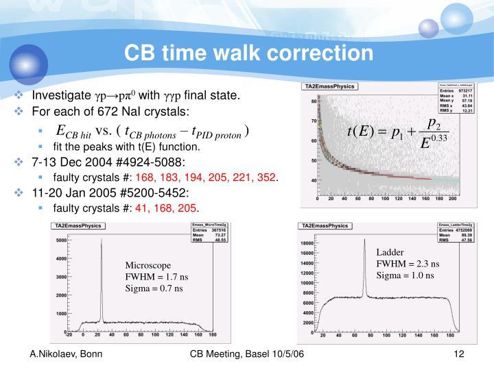 CB time walk correction