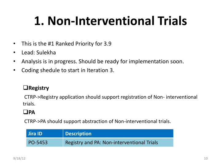 1. Non-Interventional Trials