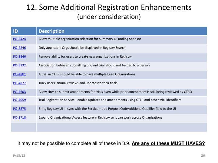 12. Some Additional Registration Enhancements