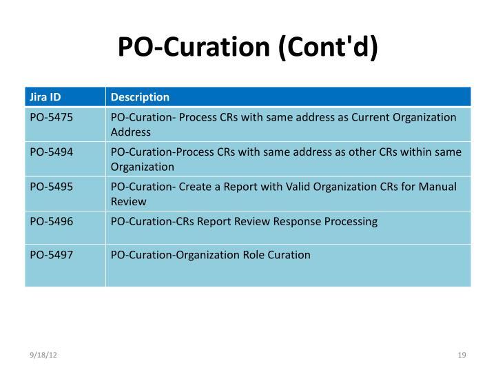 PO-Curation (Cont'd)