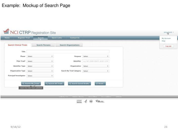 Example:  Mockup of Search Page
