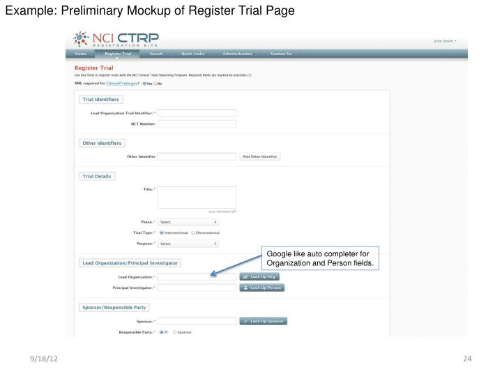 Example: Preliminary Mockup of Register Trial Page