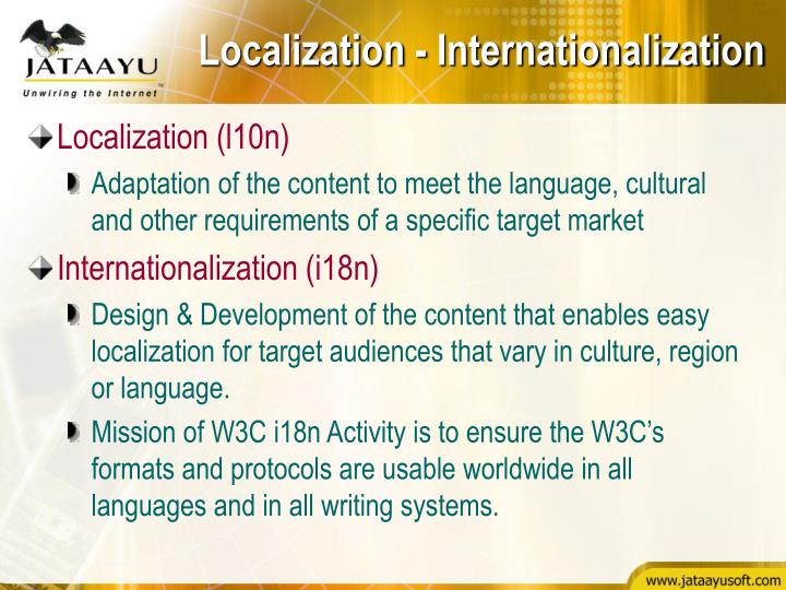 Localization - Internationalization