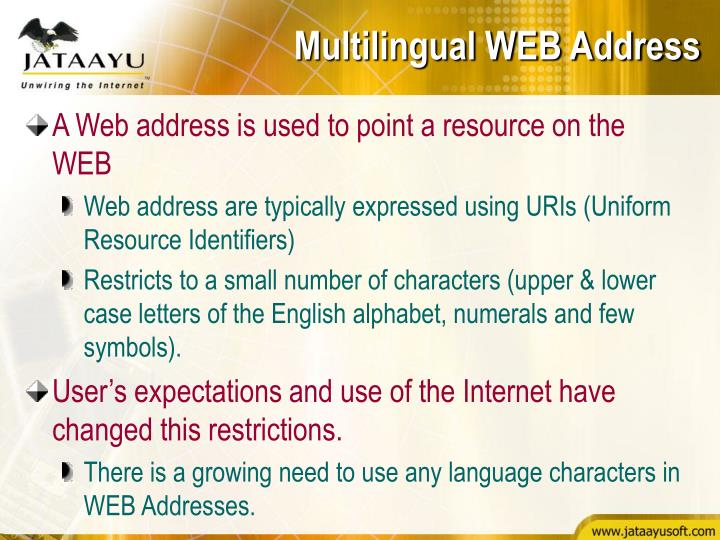 Multilingual WEB Address