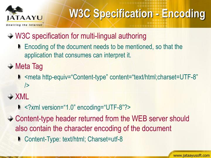 W3C Specification - Encoding