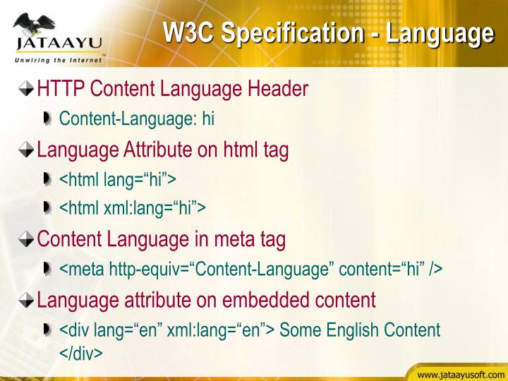 W3C Specification - Language