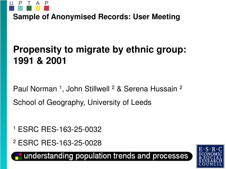 Sample of Anonymised Records: User Meeting