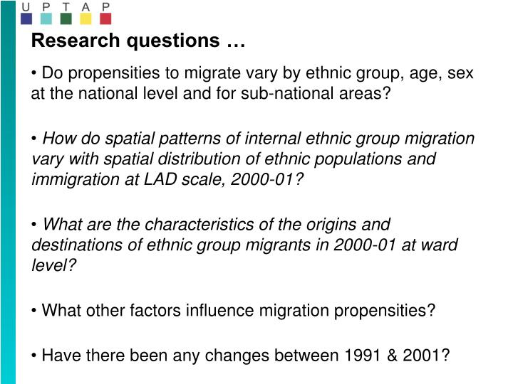 Research questions …