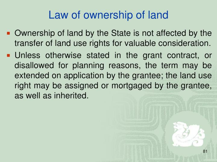 Law of ownership of land