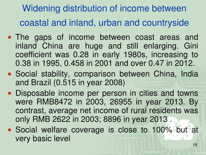 Widening distribution of income between coastal and inland, urban and countryside