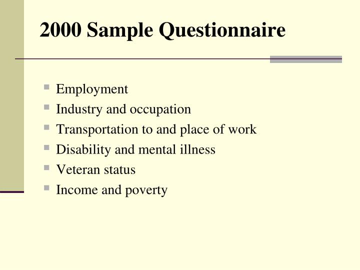 2000 Sample Questionnaire