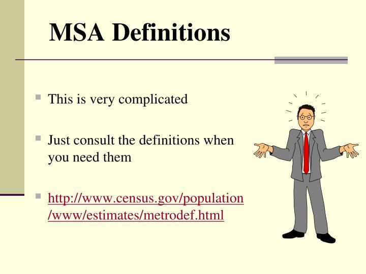 MSA Definitions