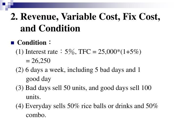 2. Revenue, Variable Cost, Fix Cost,