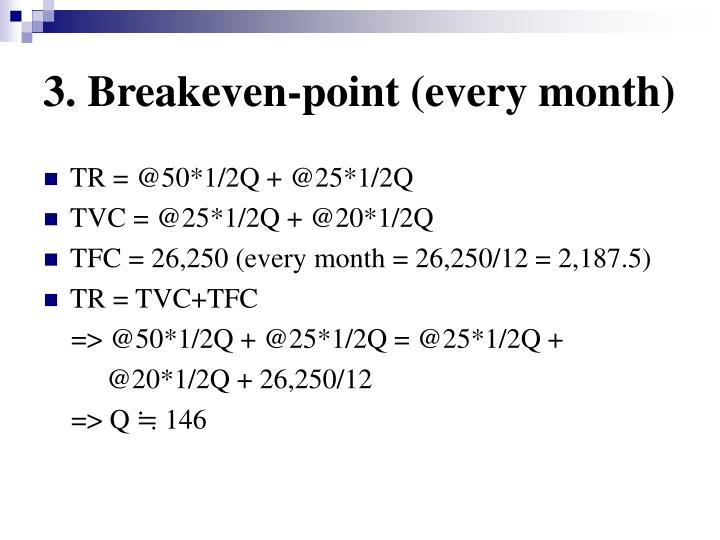 3. Breakeven-point (every month)
