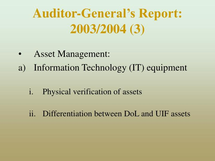 Auditor-General's Report: