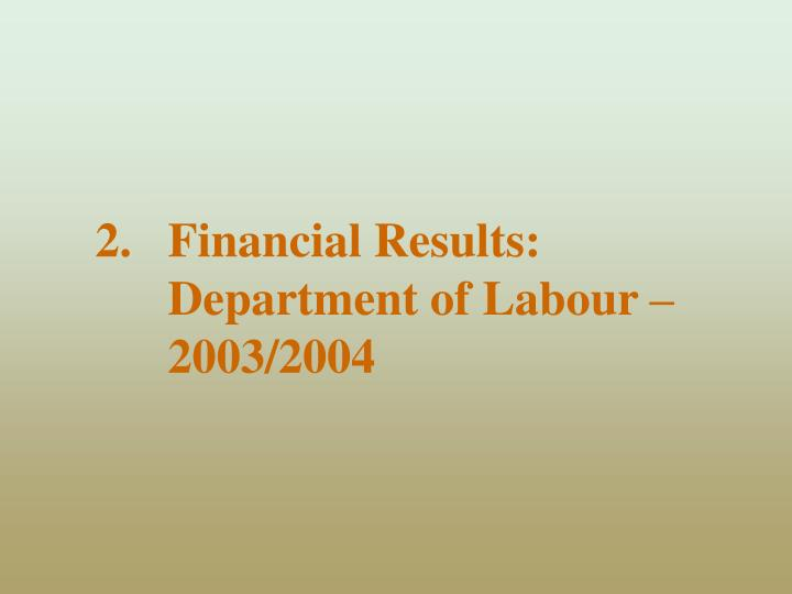 Financial Results: